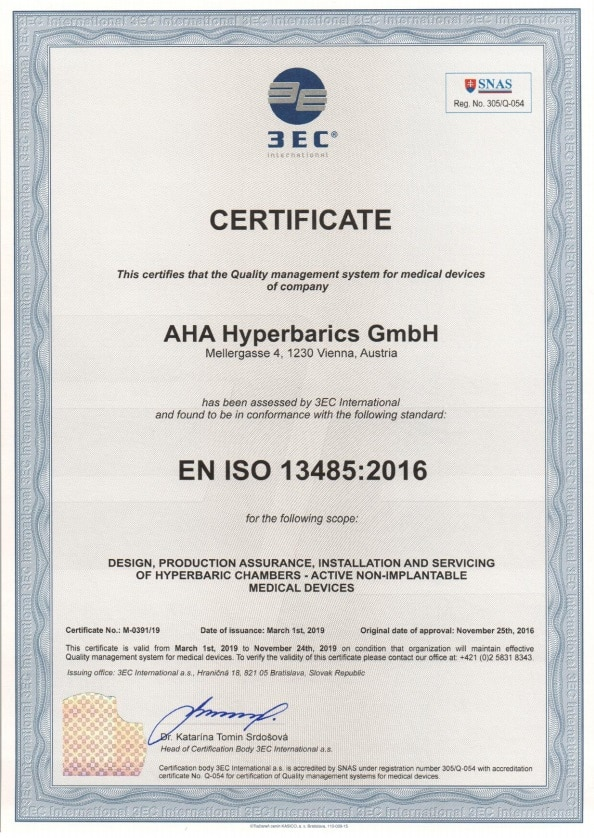 Certification EN ISO 13485:2012