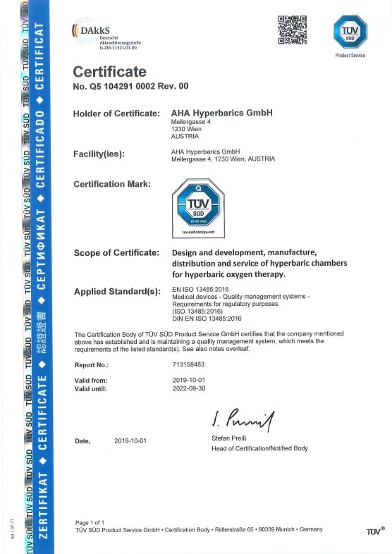 Certification EN ISO 13485:2019